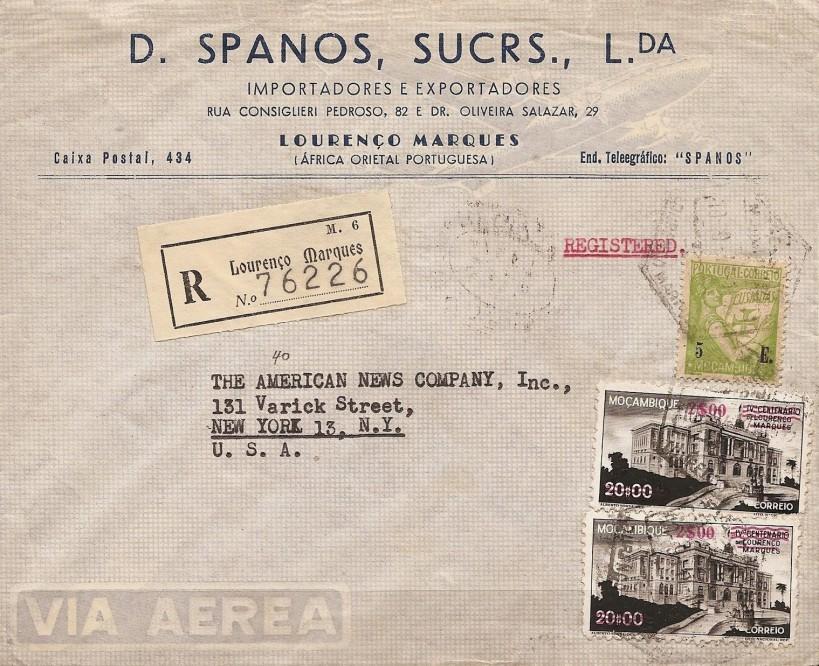 Envelope da Casa Spanos, enviado em Setembro de 1947.